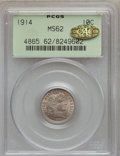 Barber Dimes, 1914 10C MS62 PCGS. Gold CAC. PCGS Population (103/687). NGCCensus: (62/594). Mintage: 17,360,656. Numismedia Wsl. Price f...