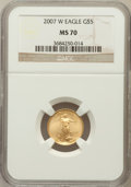 Modern Bullion Coins, 2007-W $5 Tenth-Ounce Gold Eagle MS70 NGC. NGC Census: (5525). PCGSPopulation (150). Numismedia Wsl. Price for problem fr...