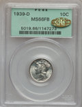 Mercury Dimes, 1939-D 10C MS66 Full Bands PCGS. Gold CAC. PCGS Population(1908/602). NGC Census: (694/470). Mintage: 24,394,000. Numismed...