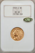 1909-D $5 MS60 NGC. Gold CAC. NGC Census: (720/25417). PCGS Population (712/24150). Mintage: 3,423,560. Numismedia Wsl...