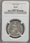 Seated Half Dollars: , 1863-S 50C AU55 NGC. NGC Census: (9/64). PCGS Population (17/68).Mintage: 916,000. Numismedia Wsl. Price for problem free ...