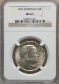 Commemorative Silver: , 1936 50C Robinson MS65 NGC. NGC Census: (779/232). PCGS Population(1051/468). Mintage: 25,265. Numismedia Wsl. Price for p...