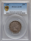 Barber Quarters: , 1905 25C AU50 PCGS Secure. PCGS Population (6/162). NGC Census:(1/130). Mintage: 4,968,250. Numismedia Wsl. Price for prob...