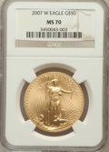 Modern Bullion Coins, 2007-W $50 One-Ounce Gold Eagle MS70 NGC. NGC Census: (1223). PCGSPopulation (206). Numismedia Wsl. Price for problem fre...