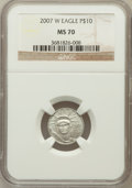 Modern Bullion Coins, 2007-W $10 Tenth-Ounce Platinum Eagle MS70 NGC. NGC Census: (373).PCGS Population (192). Numismedia Wsl. Price for proble...