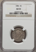 Liberty Nickels: , 1886 5C AU53 NGC. NGC Census: (5/246). PCGS Population (13/396).Mintage: 3,330,290. Numismedia Wsl. Price for problem free...