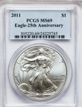 Modern Bullion Coins, 2011 $1 Silver Eagle, 25th Anniversary MS69 PCGS. PCGS Population(1473/372). NGC Census: (24314/3117). (#505220)...