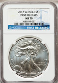 Modern Bullion Coins, 2012-W $1 One-Ounce Silver Eagle, First Releases MS70 NGC. NGCCensus: (0). PCGS Population (2646). (#514927)...