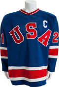 Hockey Collectibles:Uniforms, 1980 Mike Eruzione Gold Medal Game Worn USA Olympic Hockey Team Jersey....