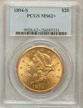 Liberty Double Eagles: , 1894-S $20 MS62+ PCGS. PCGS Population (1467/841). NGC Census:(1772/619). Mintage: 1,048,550. Numismedia Wsl. Price for pr...