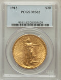 Saint-Gaudens Double Eagles: , 1913 $20 MS62 PCGS. PCGS Population (845/1020). NGC Census:(1016/468). Mintage: 168,700. Numismedia Wsl. Price for problem...