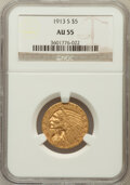 Indian Half Eagles: , 1913-S $5 AU55 NGC. NGC Census: (348/1013). PCGS Population(160/457). Mintage: 408,000. Numismedia Wsl. Price for problem ...