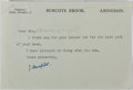 """Autographs:Authors, John Masefield, English Poet Laureate. Typed Letter Signed """"J. Masefield"""". One page, on Burcote Book letterhead. Undated..."""