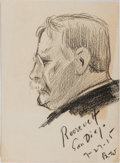 """Books:Prints & Leaves, Theodore Roosevelt Pencil Portrait, Circa 1915. 4.5 x 6 inches.Signed in the lower right corner """"B.W."""" Minor mounting r..."""