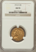 Indian Half Eagles: , 1912-S $5 AU55 NGC. NGC Census: (341/767). PCGS Population(147/317). Mintage: 392,000. Numismedia Wsl. Price for problem f...