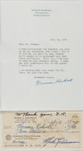 """Autographs:Artists, Norman Rockwell, American Artist and Illustrator. Typed LetterSigned """"Norman Rockwell"""". One page, April 10, 1973 on hi..."""