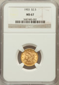 Liberty Quarter Eagles: , 1903 $2 1/2 MS67 NGC. NGC Census: (91/5). PCGS Population (51/0).Mintage: 201,000. Numismedia Wsl. Price for problem free ...