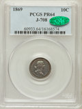 Patterns, 1869 10C Standard Silver Ten Cents, Judd-708, Pollock-787, R.5,PR64 PCGS. CAC. PCGS Population (14/7). NGC Census: (8/9)....