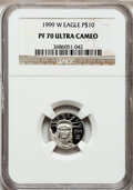 Modern Bullion Coins: , 1999-W P$10 Tenth-Ounce Platinum Eagle PR70 Ultra Cameo NGC. NGCCensus: (613). PCGS Population (162). Mintage: 19,123. Num...