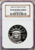 Modern Bullion Coins, 2002-W P$100 One-Ounce Platinum Eagle PR69 Ultra Cameo NGC. NGCCensus: (487/376). PCGS Population (954/142). Numismedia W...