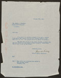 Baseball Collectibles:Others, 1950 Branch Rickey Signed Letter to First Black Pitcher in MajorsDan Bankhead....