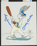 Baseball Collectibles:Others, Reggie Jackson and Mickey Mantle Multi Signed Bugs Bunny AnimationCel....