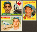 Baseball Cards:Lots, 1955, 1956 & 1958 Topps Sandy Koufax Trio (3). ...