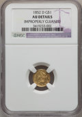 1852-D G$1 -- Improperly Cleaned -- NGC Details. AU. Variety 4-F....(PCGS# 7519)