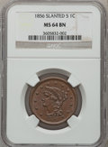 Large Cents: , 1856 1C Slanted 5 MS64 Brown NGC. NGC Census: (0/0). PCGSPopulation (40/15). ...