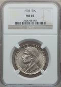 Commemorative Silver: , 1935 50C Boone MS65 NGC. NGC Census: (478/189). PCGS Population(551/243). Mintage: 10,000. Numismedia Wsl. Price for probl...