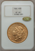 Liberty Double Eagles, 1865 $20 XF40 NGC. CAC Gold Label....