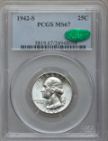 Washington Quarters, 1942-S 25C MS67 PCGS. CAC....