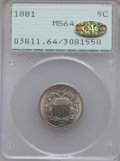 Shield Nickels, 1881 5C MS64 PCGS. CAC Gold Label....