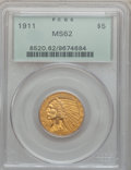 Indian Half Eagles: , 1911 $5 MS62 PCGS. PCGS Population (2074/1378). NGC Census:(3240/1348). Mintage: 915,000. Numismedia Wsl. Price for proble...