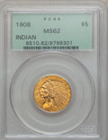 Indian Half Eagles: , 1908 $5 MS62 PCGS. PCGS Population (1774/2120). NGC Census:(2633/2024). Mintage: 577,800. Numismedia Wsl. Price for proble...