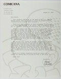 "Autographs:Artists, Mort Walker, American Cartoonist. Typed Letter Signed ""Mort Walker"". One page, August 8, 1993. On his business letterhea..."