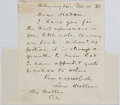 "Autographs:Authors, Lew Wallace, American Author and Governor of New Mexico. AutographLetter Signed ""Lew Wallace"". One page, December 10, 1..."