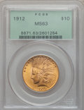 Indian Eagles: , 1912 $10 MS63 PCGS. PCGS Population (884/273). NGC Census:(906/443). Mintage: 405,083. Numismedia Wsl. Price for problem f...