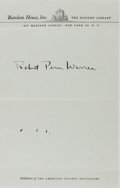 "Autographs:Authors, Robert Penn Warren, American Writer. Signature on Random HouseLetterhead ""Robert Penn Warren"". Some ink bleed on the lo..."