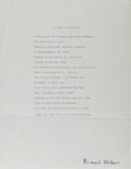 """Autographs:Authors, Richard Wilbur, American Poet. Typed Poem """"A Chronic Condition""""Signed """"Richard Wilbur"""". One page. Undated. Bright signa..."""
