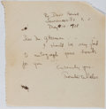 "Autographs:Authors, Thornton Wilder, American Playwright and Novelist. Autograph Letter Signed ""Thornton Wilder"". One page, May 18, 1928. Pa..."