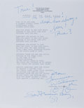 "Autographs:Authors, Tennessee Williams, American Writer and Playwright. Typed Poem""Love is an Old Song"" Annotated and Signed ""From Tennessee..."