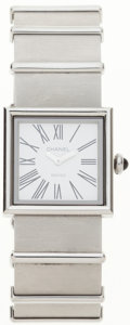 Luxury Accessories:Accessories, Chanel Silver Mademoiselle Quartz Watch. ...