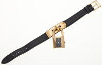 Hermes Gold Plated Kelly Watch with Black Epsom Leather Strap