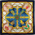 "Luxury Accessories:Accessories, Hermes Blue, Red, and Yellow ""Grande Tenue,"" by Henri d'Origny SilkScarf. ..."