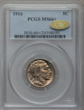 Buffalo Nickels, 1916 5C MS66+ PCGS. CAC Gold Label....