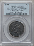 Large Cents, 1794 1C Head of 1794 -- Environmental Damage -- PCGS Genuine. XFDetails. S-44, B-33, R.1....