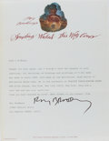 """Autographs:Authors, Ray Bradbury. Typed Letter Signed """"Ray Bradbury"""". One page,on his personal letterhead, undated. Smoothed vertic..."""