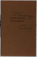 Books:Fiction, Ray Bradbury. INSCRIBED/LIMITED. That Son of Richard III.Roy A. Squires, 1974. Limited to 400 hand-numbered c...