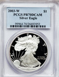Modern Bullion Coins: , 2003-W $1 Silver Eagle PR70 Deep Cameo PCGS. PCGS Population(1290). NGC Census: (7540). Numismedia Wsl. Price for problem...